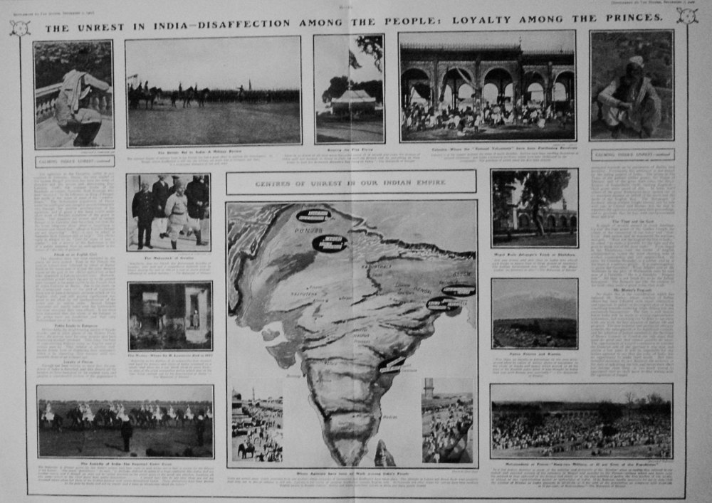 The Sphere, September 7th, 1907.  (Supplement) : The Work of Calming the Unrest in India. 1907