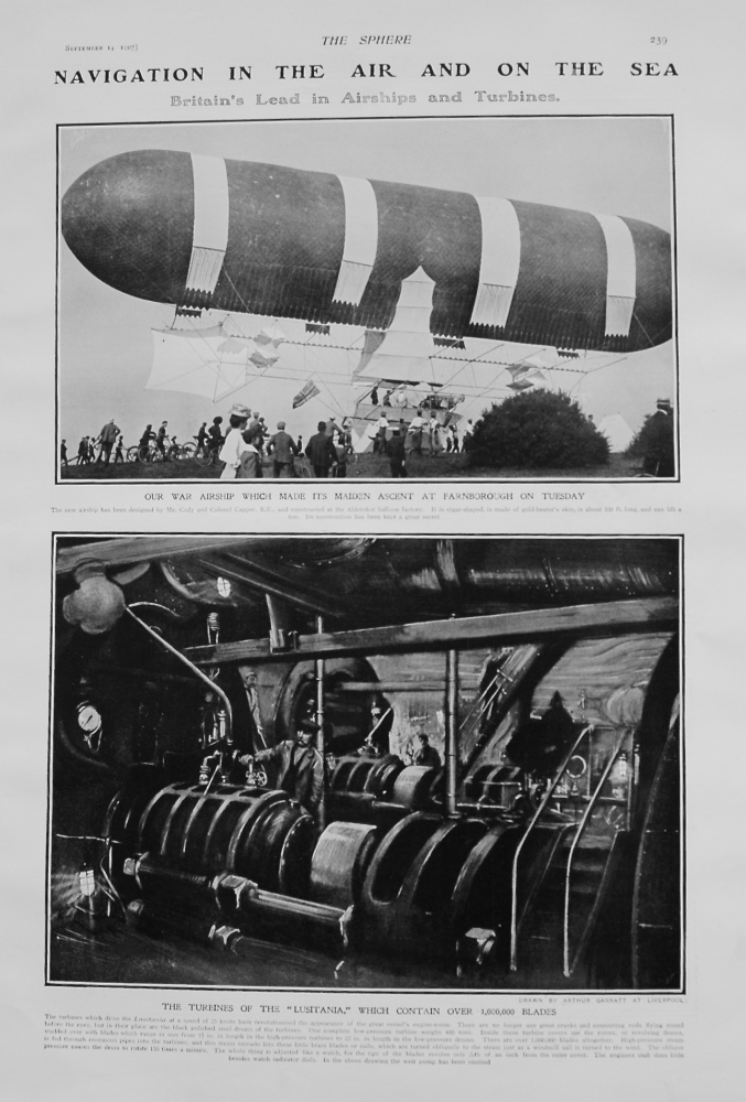 Navigation in the Air and on the Sea. (Britain's lead in Airships and Turbines) 1907