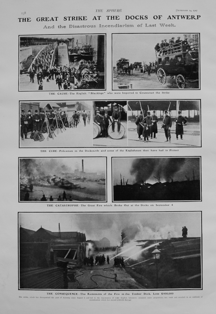 Great Strike at the Docks of Antwerp, and the Disastrous Incendiarism of Last week.  1907