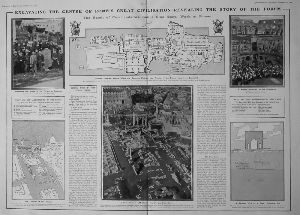 The Sphere, September 21st, 1907. (Supplement) : The New and the Old in Modern Rome : Revealing the Story of the Forum.