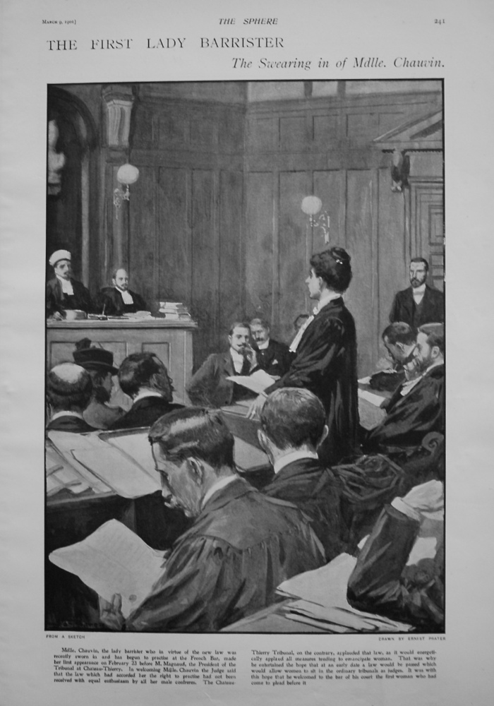 First Lady Barrister, the Swearing in of Mdlle. Chauvin. 1901