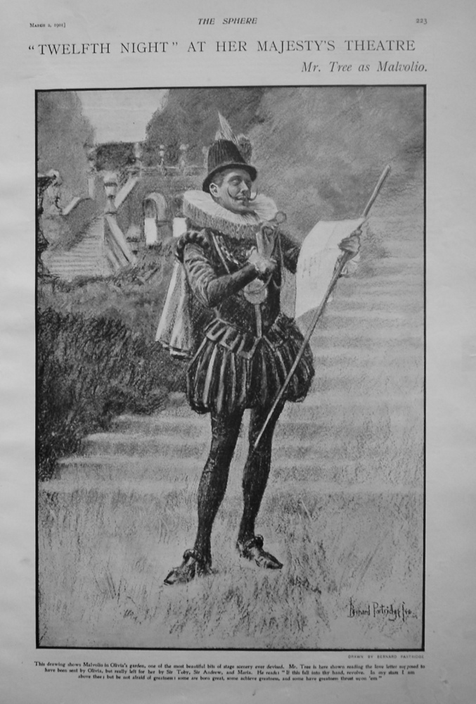 """Twelfth Night"" at Her Majesty's Theatre : Mr. Tree as Malvolio.1901"