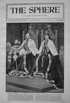 First Parliament of King Edward. The King and Queen on the Throne in the House of Lords.