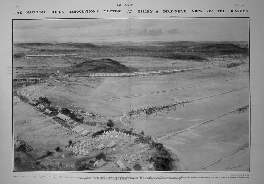 National Rifle Association's Meeting at Bisley, a Bird's-eye View of the Ranges. 1907