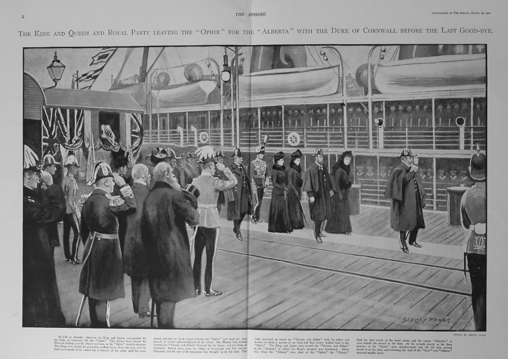 """The Sphere, March 23rd, 1901. (Supplement) : Royal Tour - The Duke and Duchess of Cornwall and York Leaving on H.M.S. """"Ophir""""."""