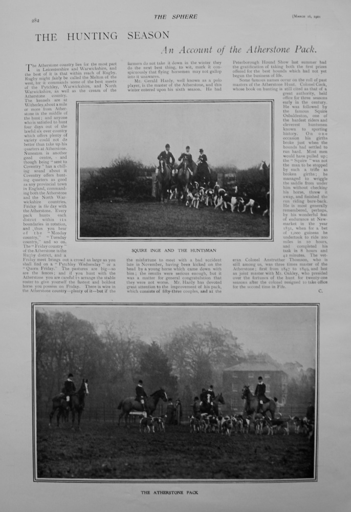 The Hunting Season : An Account of the Atherstone Pack. 1901
