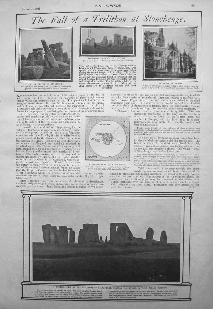 Fall of a Trilithon at Stonehenge. 1901