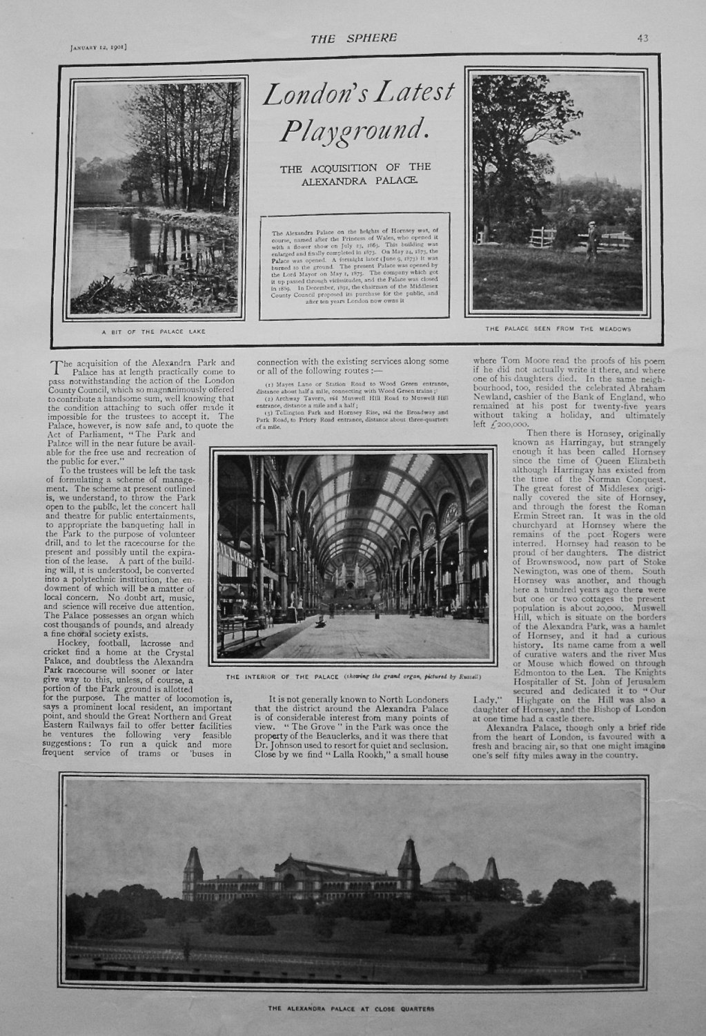 London's Latest Playground : The Acquisition of Alexandra Palace. 1901