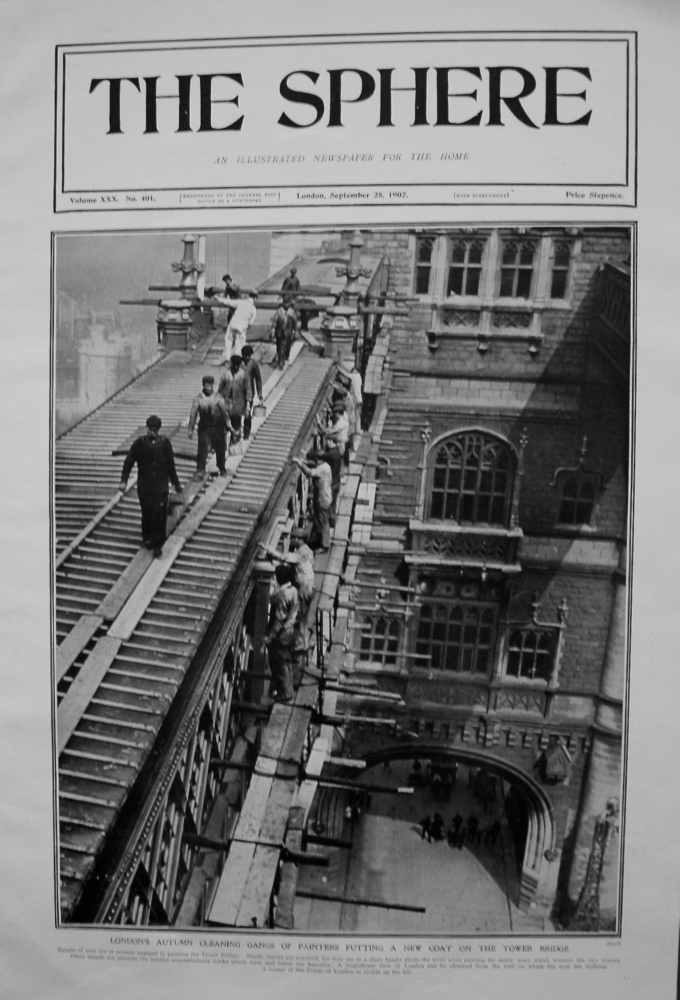 London's Autumn Cleaning - Gangs of Painters putting a new Coat on Tower Bridge. 1907