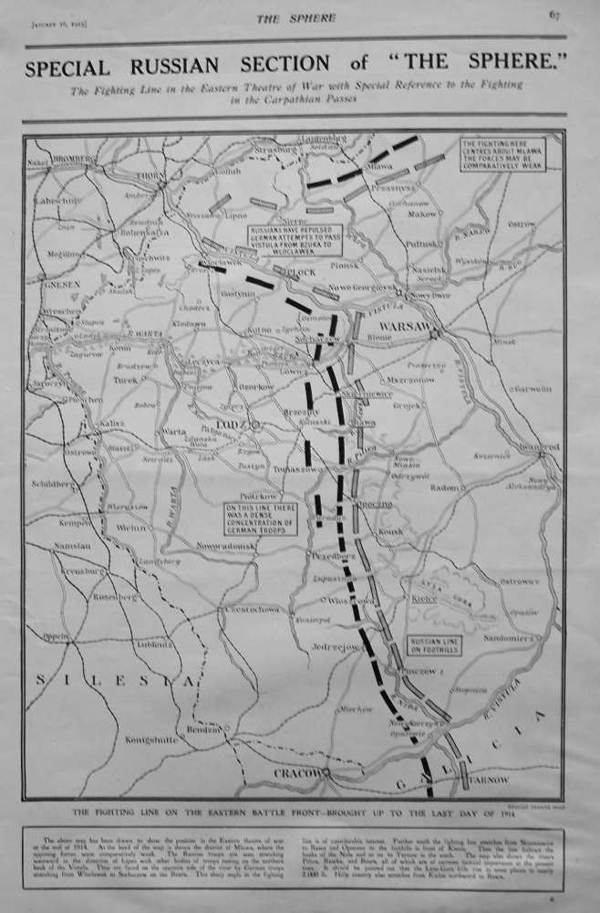 Fighting Line on the Eastern Battle Front - Brought up to the Last Day of 1914.