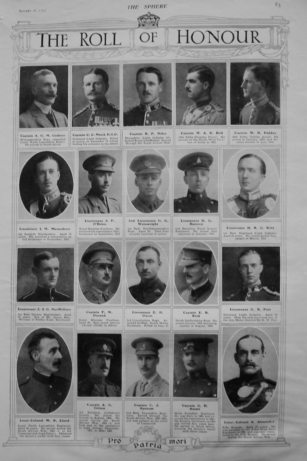 The Roll of Honour. January 16th, 1915.
