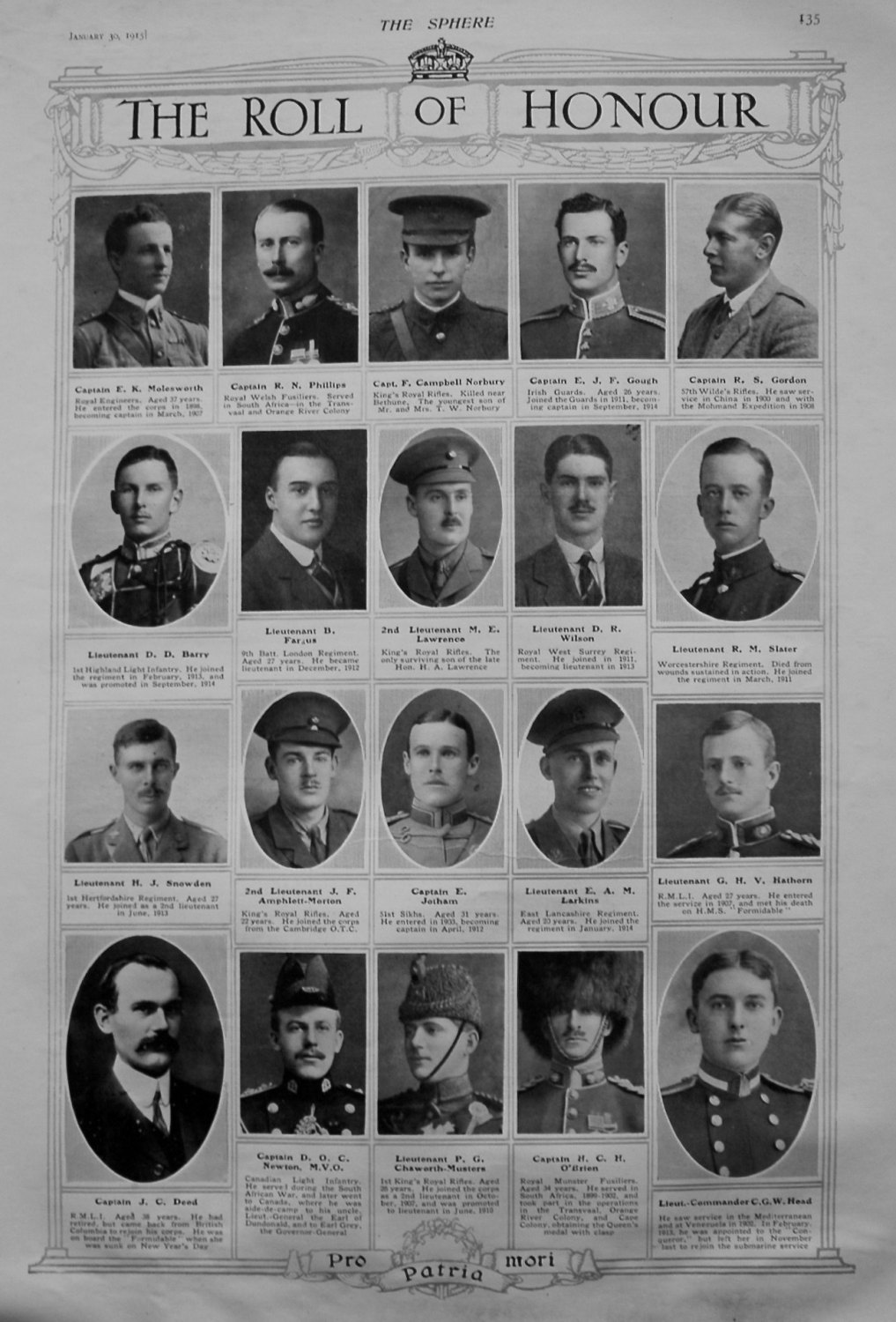 The Roll of Honour. January 30th, 1915.