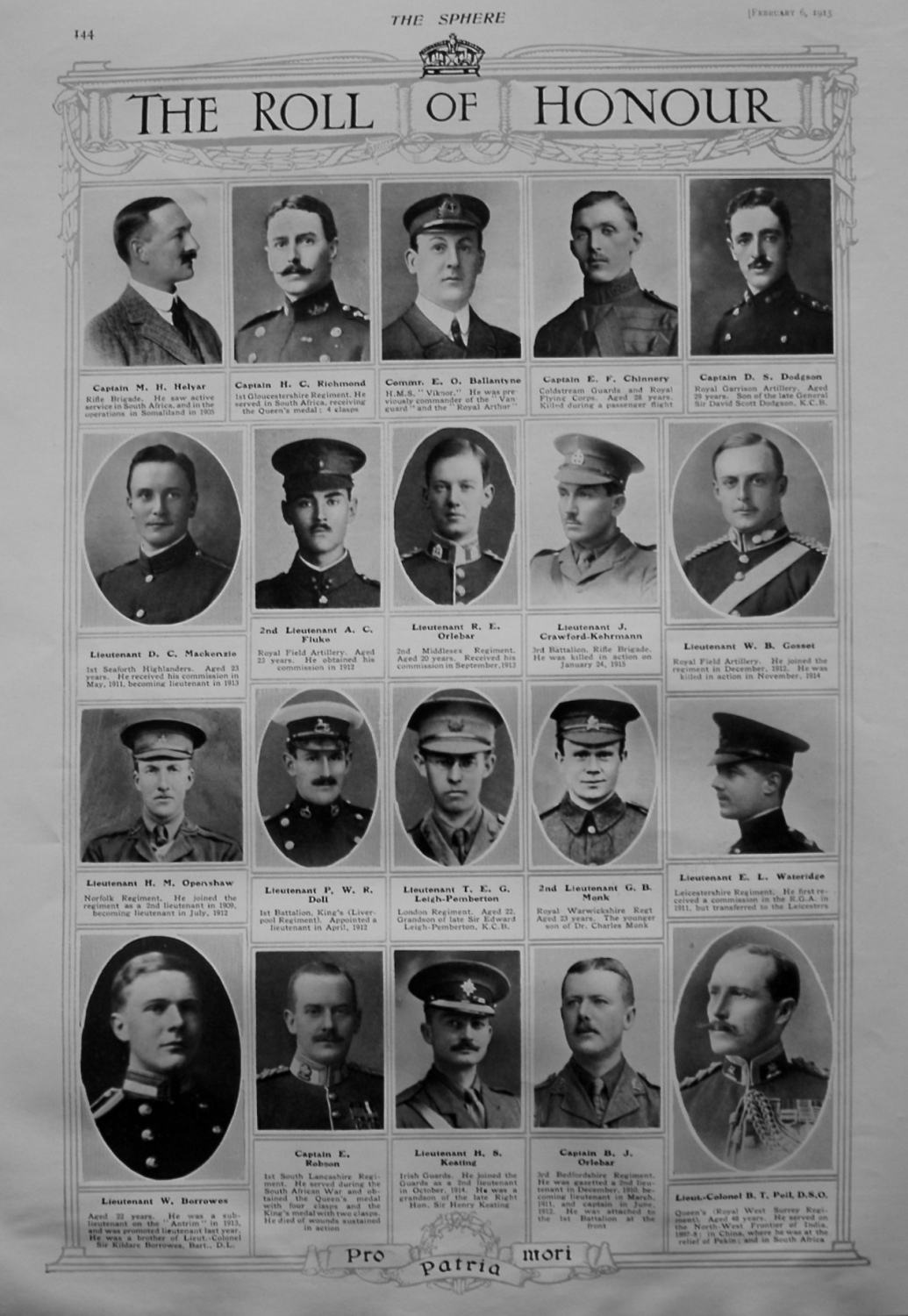 The Roll of Honour. February 6th, 1915.