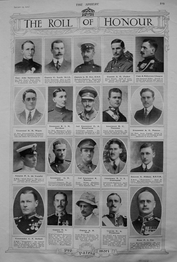 The Roll of Honour. January 23rd, 1915.