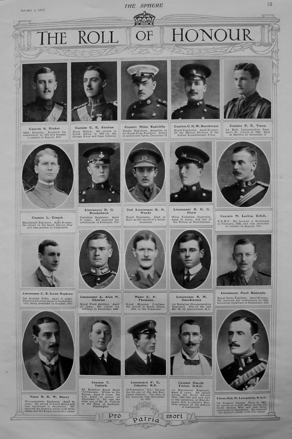 The Roll of Honour. January 9th, 1915.