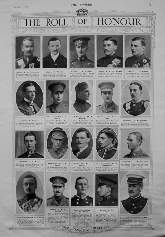The Roll of Honour. January 2nd, 1915.