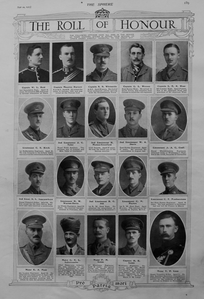 The Roll Of Honour. May 22nd, 1915.
