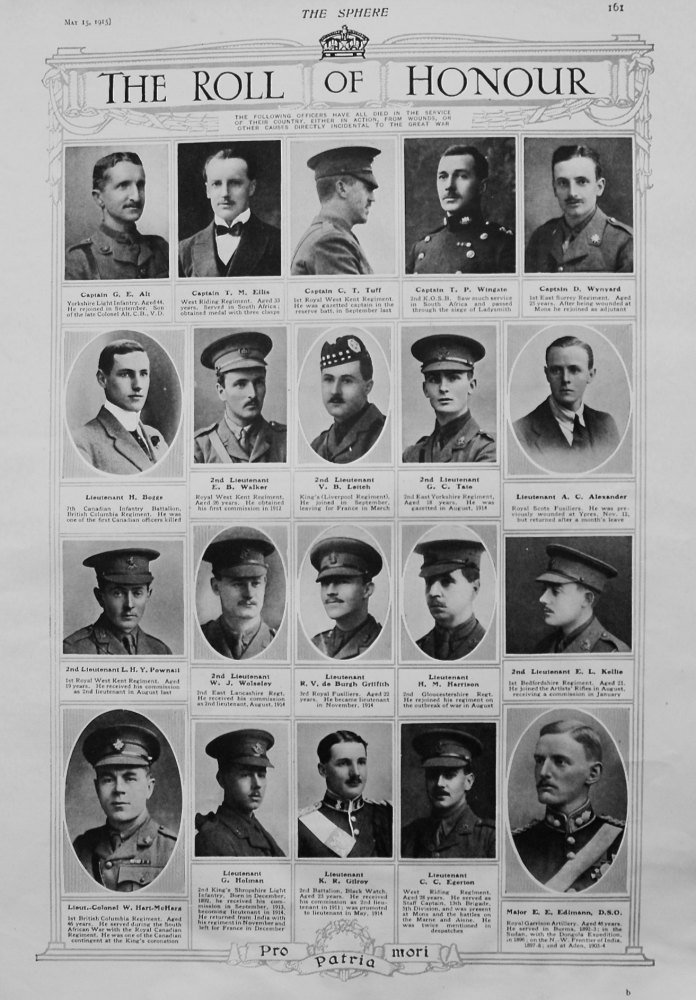 The Roll of Honour. May 15th, 1915.
