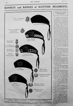 Bonnets and Badges of Scottish Regiments. 1915
