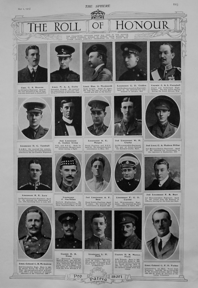 The Roll of Honour. May 1st 1915.