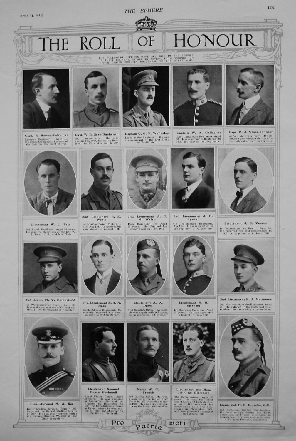 The Roll of Honour. April 24th 1915.