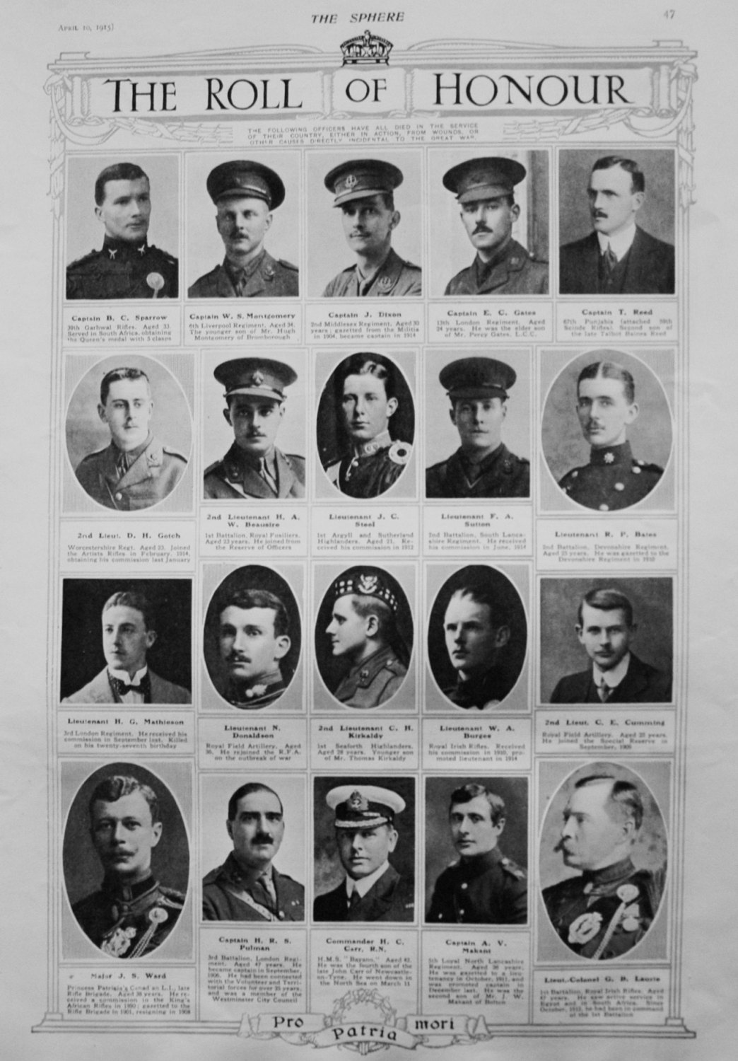 The Roll of Honour. April 10th 1915.