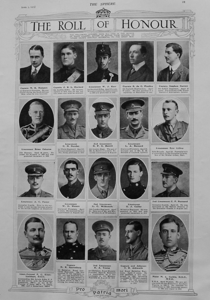 The Roll of Honour. August 3rd, 1915.