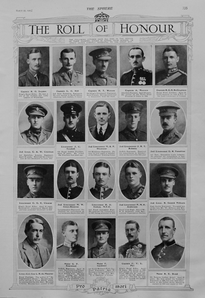 The Roll of Honour. March 27th, 1915.