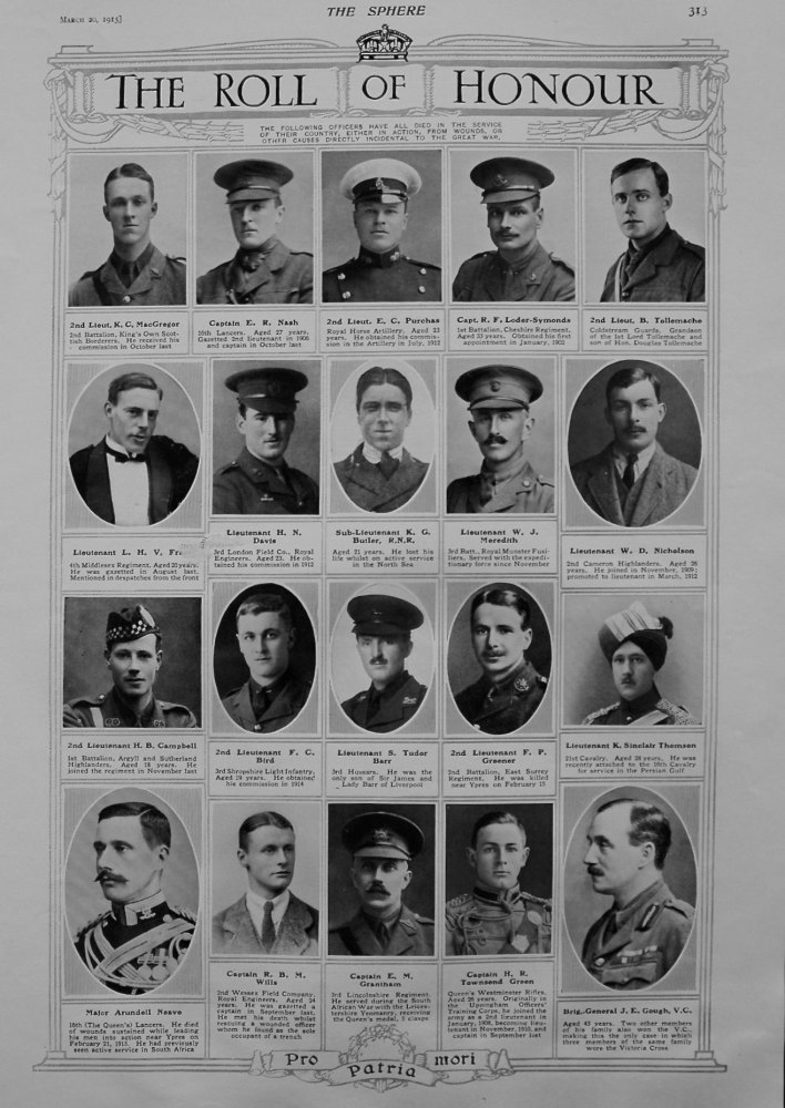 The Roll of Honour. March 20th, 1915.