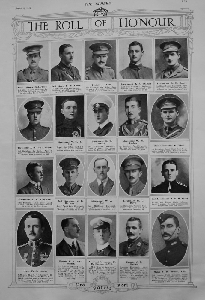 The Roll of Honour. March 13th 1915.