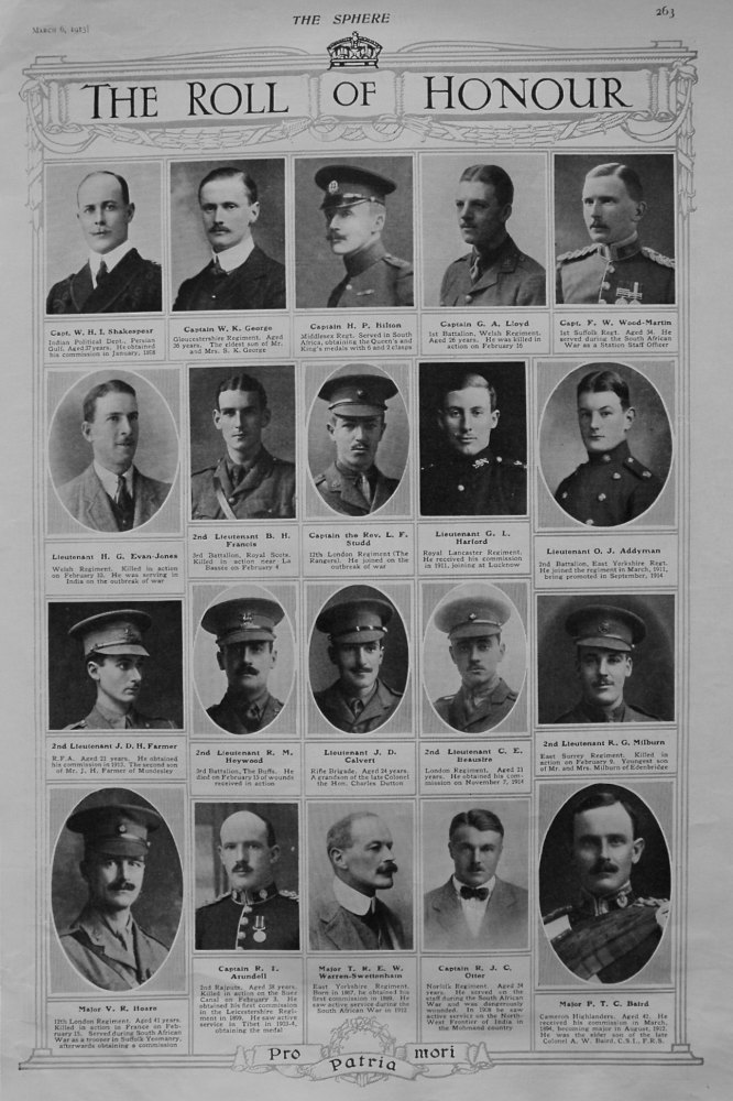 The Roll of Honour. March 6th 1915,