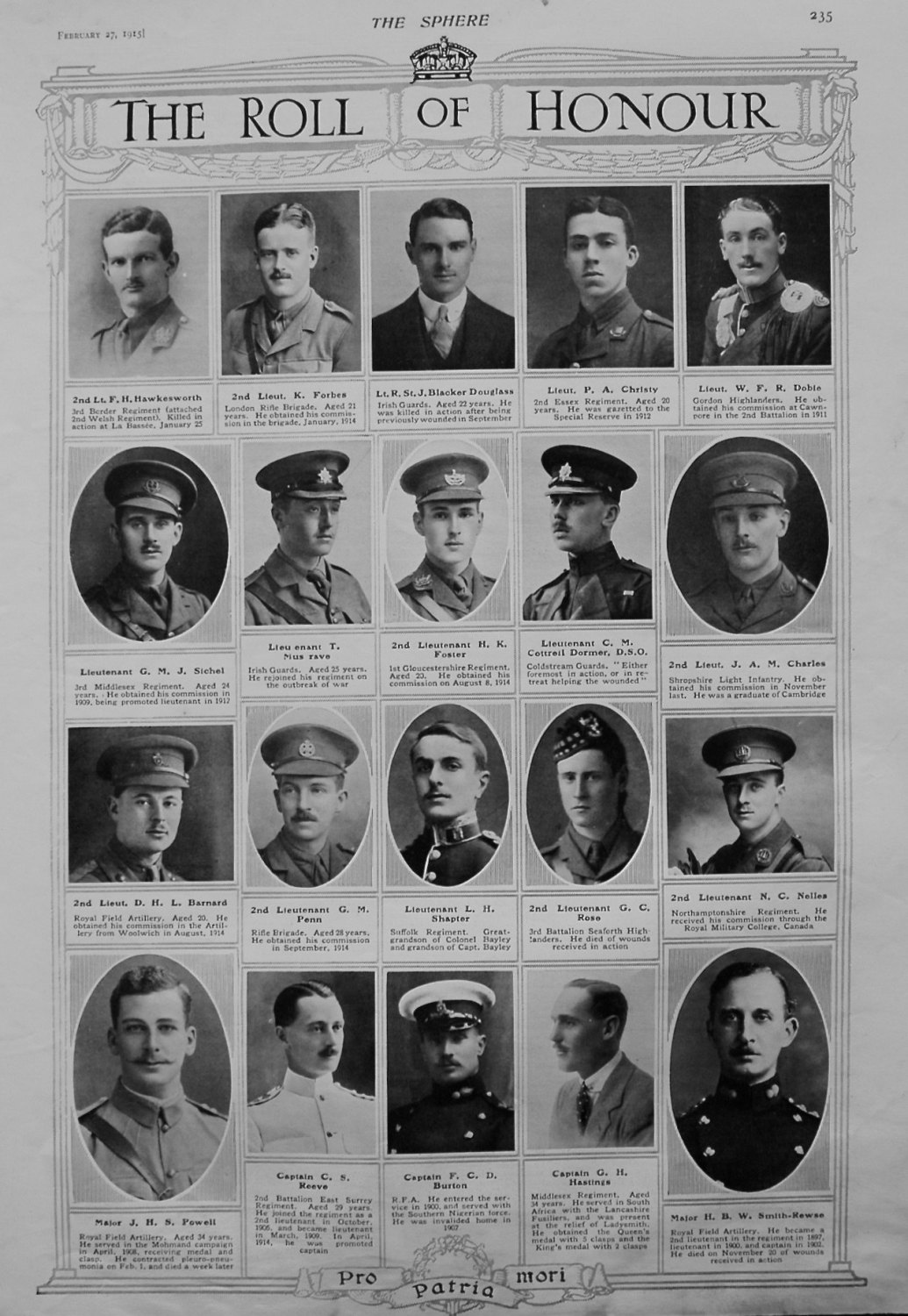 The Roll of Honour. February 27th, 1915