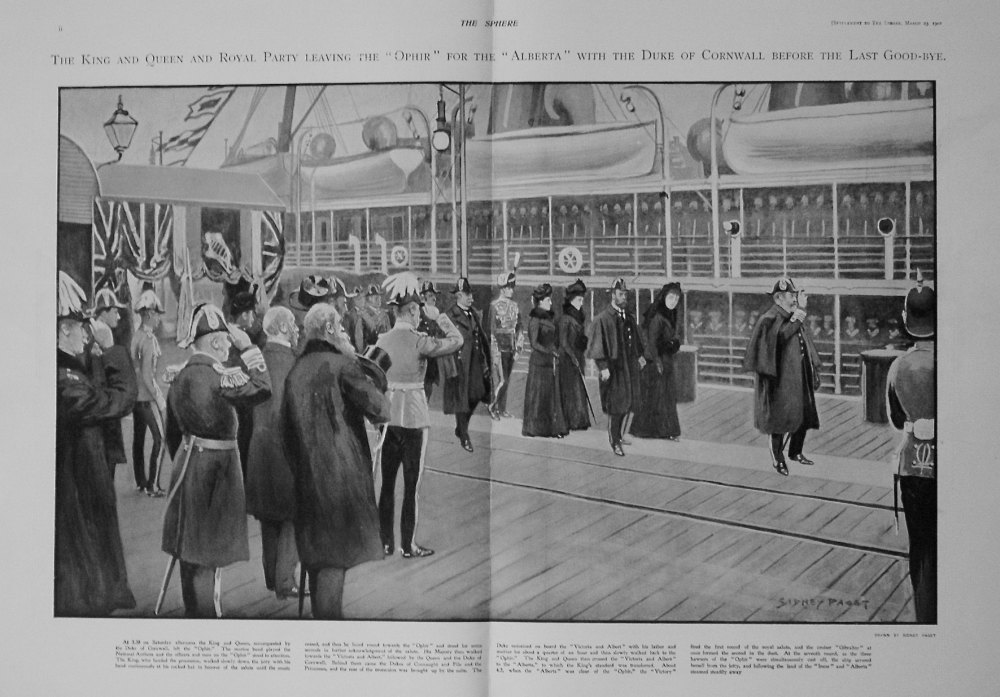 """The Sphere, March 23rd, 1901. (Supplement) : The Royal Tour. The Duke and Duchess of Cornwall and York Leaving on H.M.S. """"Ophir."""""""