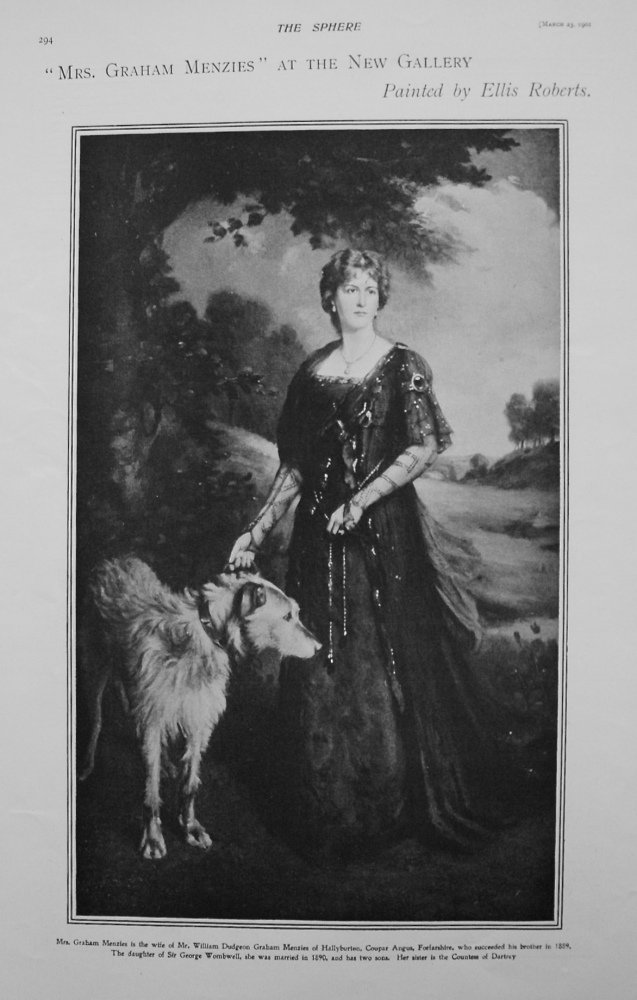 """""""Mrs. Graham Menzies"""" at the Gallery. Painted by Ellis Roberts. 1901"""