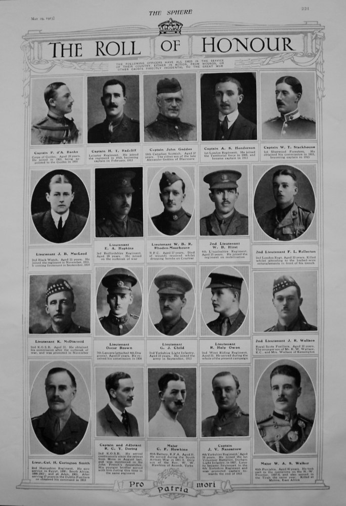 The Roll of Honour. May 29th 1915