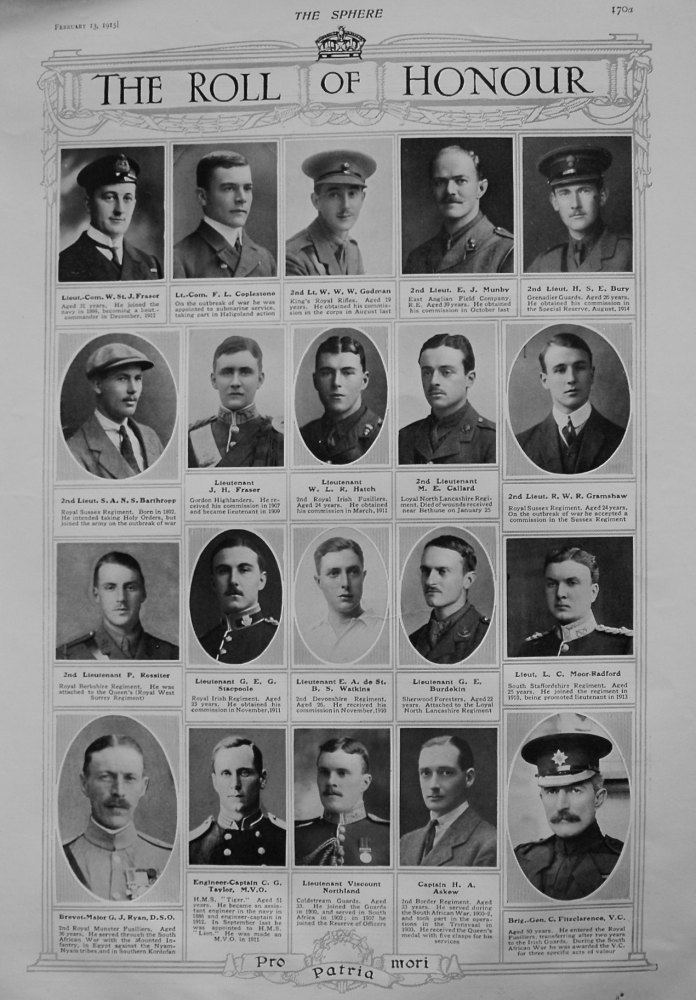The Roll of Honour. February 13th, 1915.