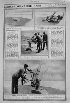 German Submarine Raids : How the Enemy's Vessels are Armed with Disappearing Guns. 1915