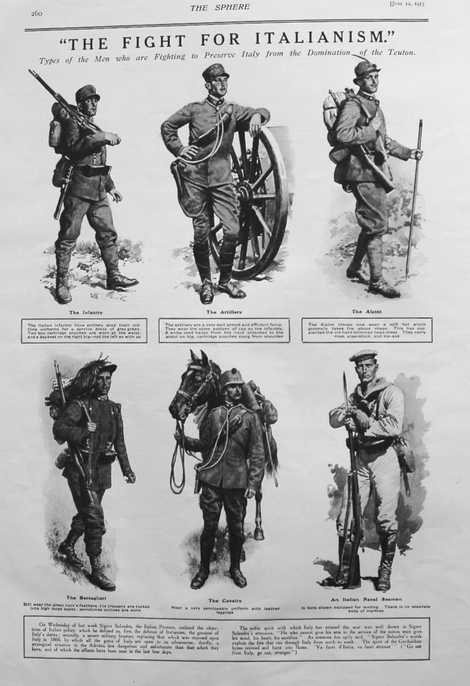 """The Fight For Italianism."" Types of Men who are Fighting to Preserve Italy from the Domination of the Teuton. 1915"