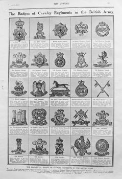 Badges of Cavalry Regiments in the British Army. 1915