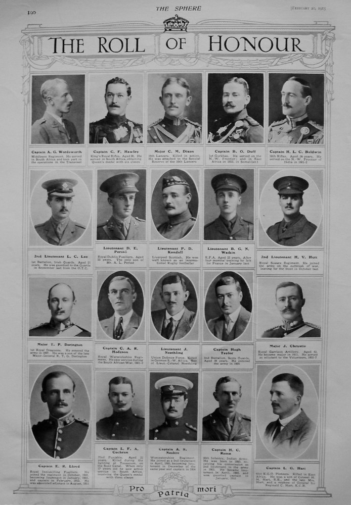 The Roll of Honour. February 20th 1915.