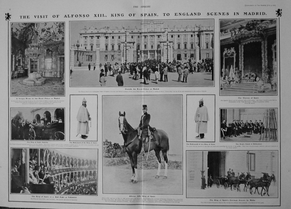 The Sphere, June 3rd, 1905.  (Supplement) : Visit of the King of Spain to King Edward VII. 1905