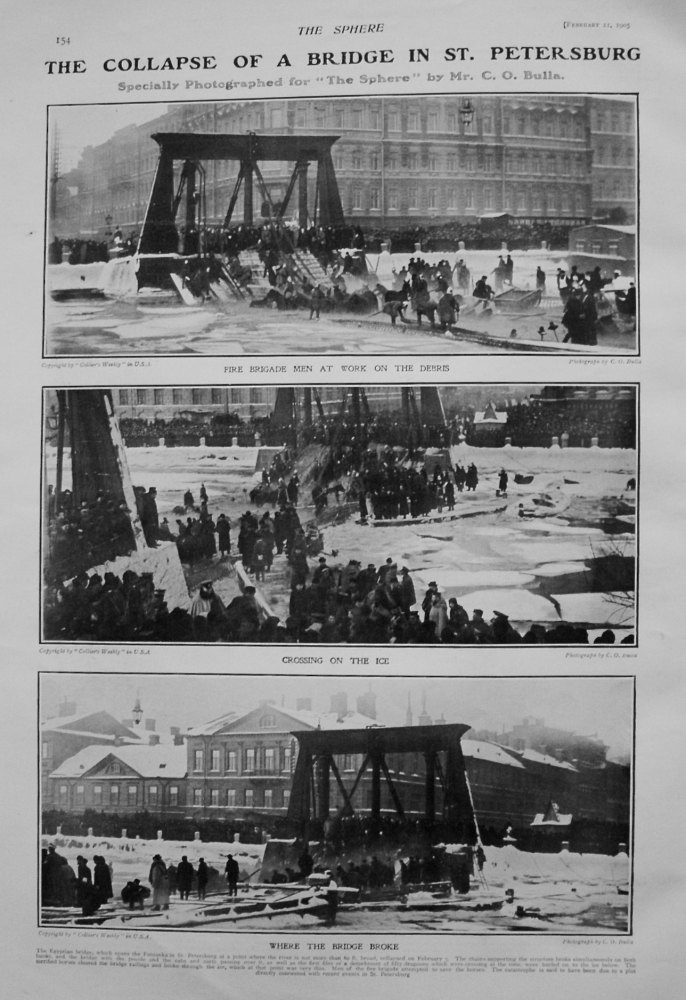 Collapse of a Bridge in St. Petersburg. 1905 (Photographs)