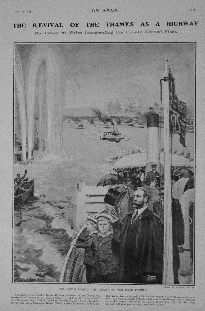 Revival of the Thames as a Highway : The Prince of Wales Inaugurating the County Council Fleet. 1905