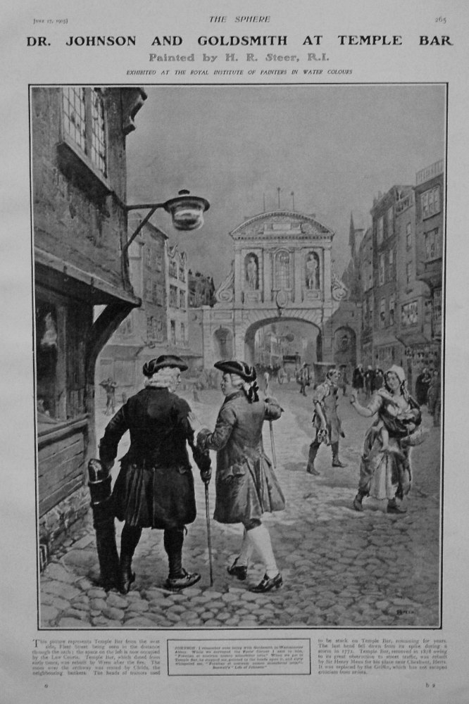 Dr. Johnson and Goldsmith at Temple Bar. Painted by H. R. Steer, R.I. 1905