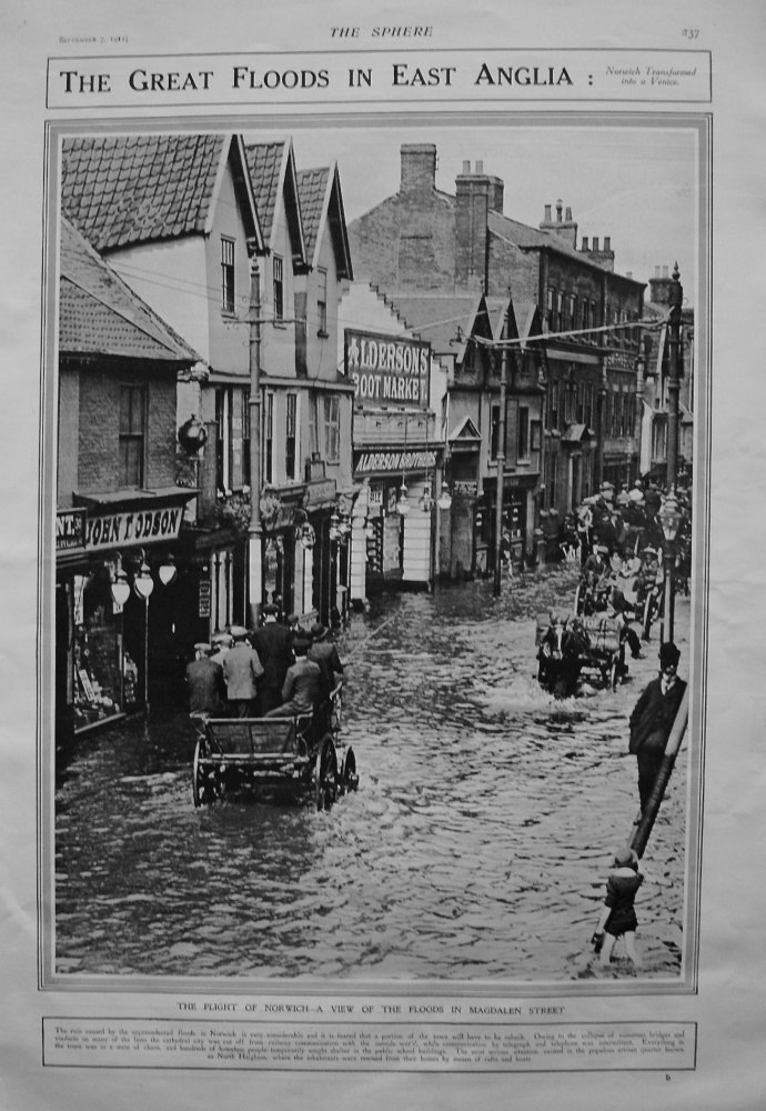 Great Floods in East Anglia : Norwich Transformed into a Venice. 1912.