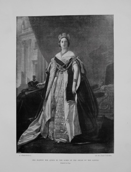 Her Majesty The Queen in the Robes of the Order of the Garter. Queen Victoria.  (Painted in 1859.