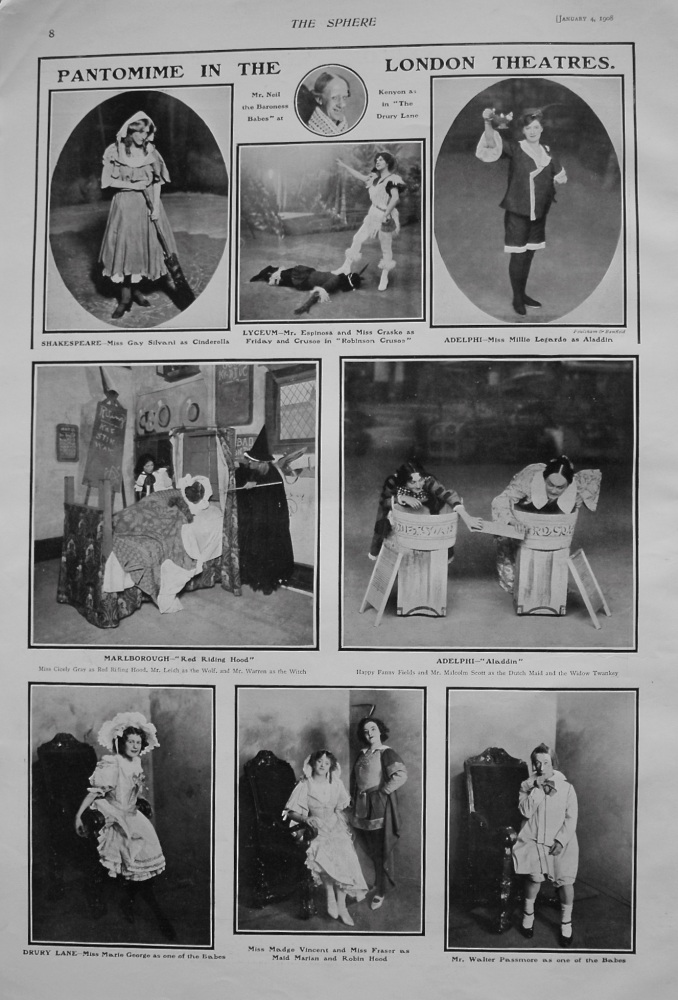 Pantomime in the London Theatres. January 4th 1908.
