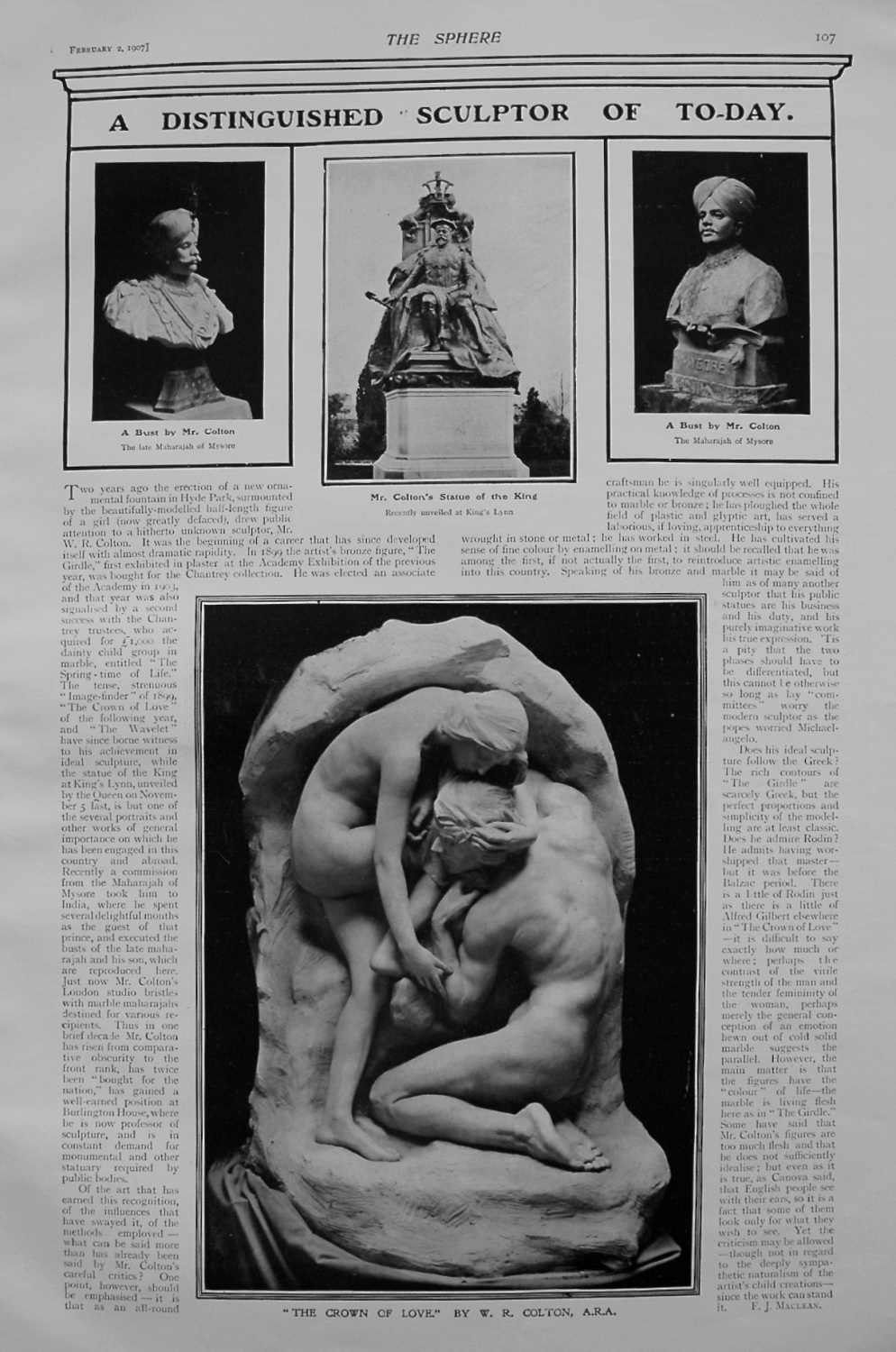 A Distinguished Sculptor of To-day. Mr. W.R. Colton. 1907