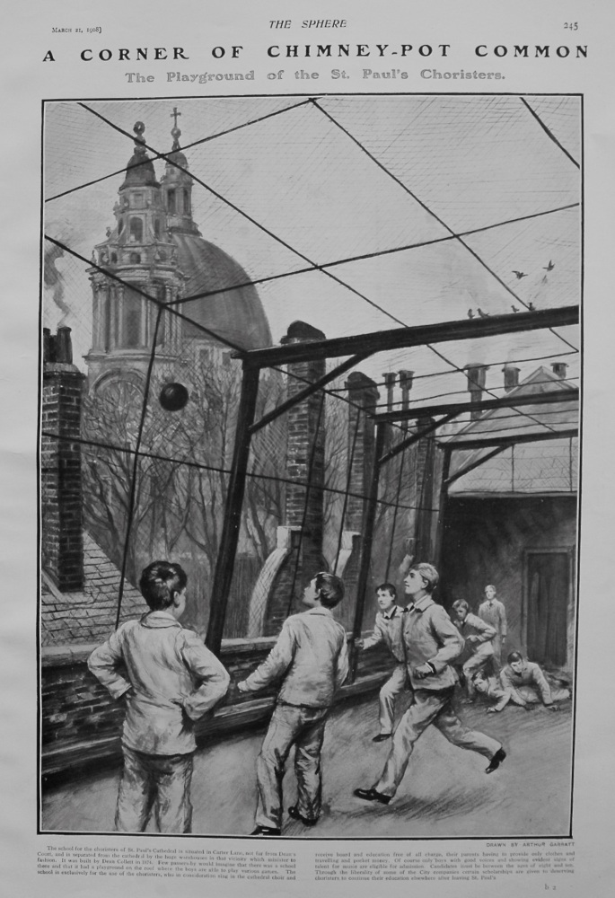 "A Corner of Chimney-Pot Common : The Playground of the St. Paul's Choristers."" 1908"