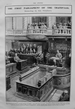 First Parliament of the Transvaal : Swearing in the Members. 1907